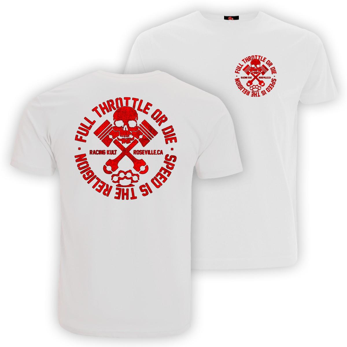 Racing Kult T-Shirt Full Throttle Motiv in Rot