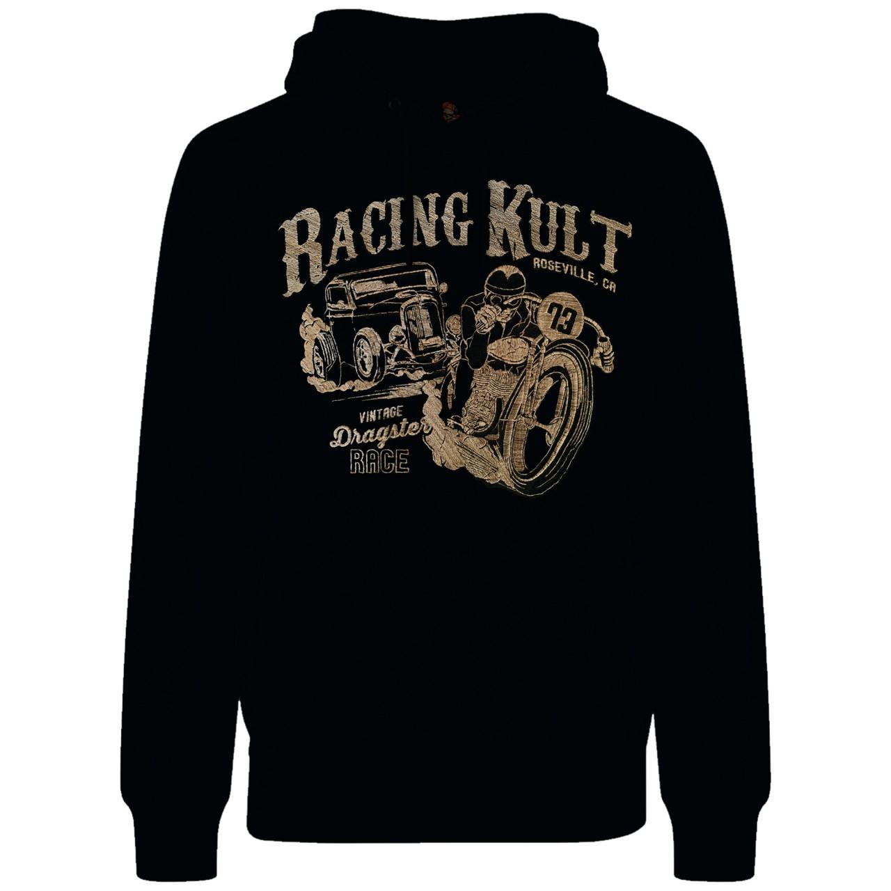 Racing Kult Premium Hoodie Vintage Dragster Race mit Stick