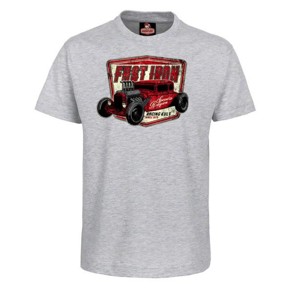 Racing Kult Kinder T-Shirt Fast Iron Grau Meliert