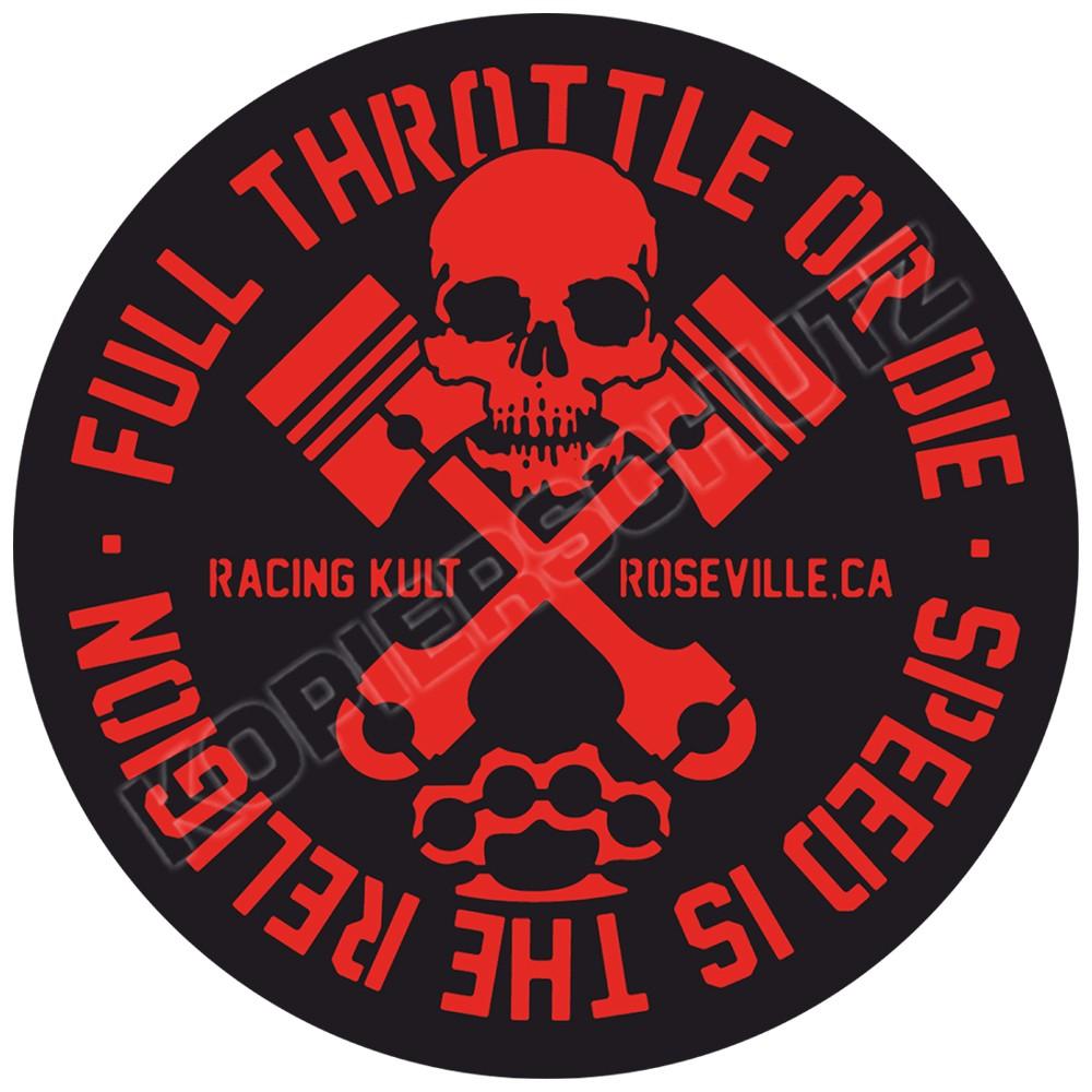 Racing Kult Aufkleber Sticker Full Throttle or Die Rot in verschiedenen Größen