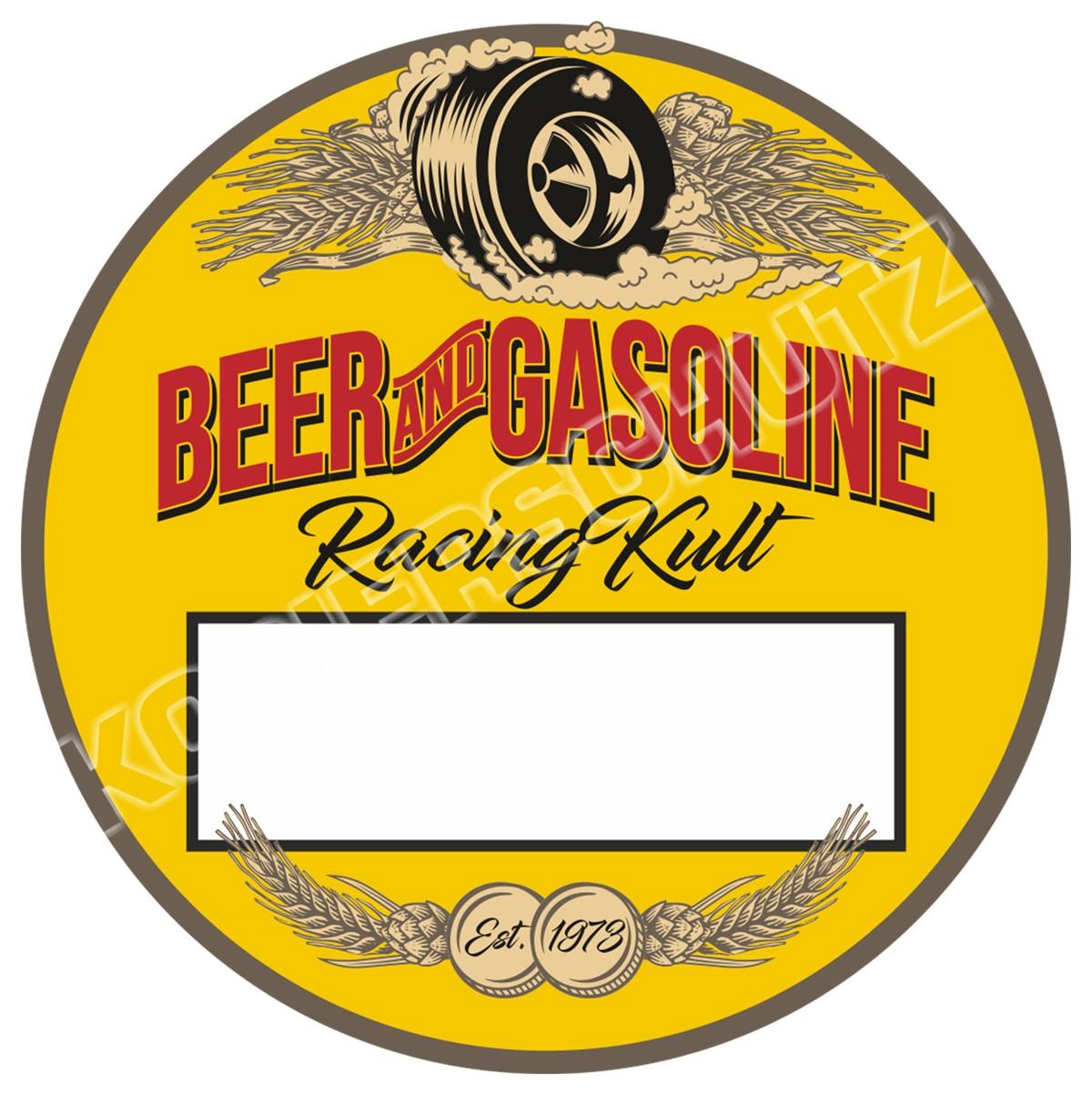 Racing Kult Aufkleber Beer and Gasoline Plakette