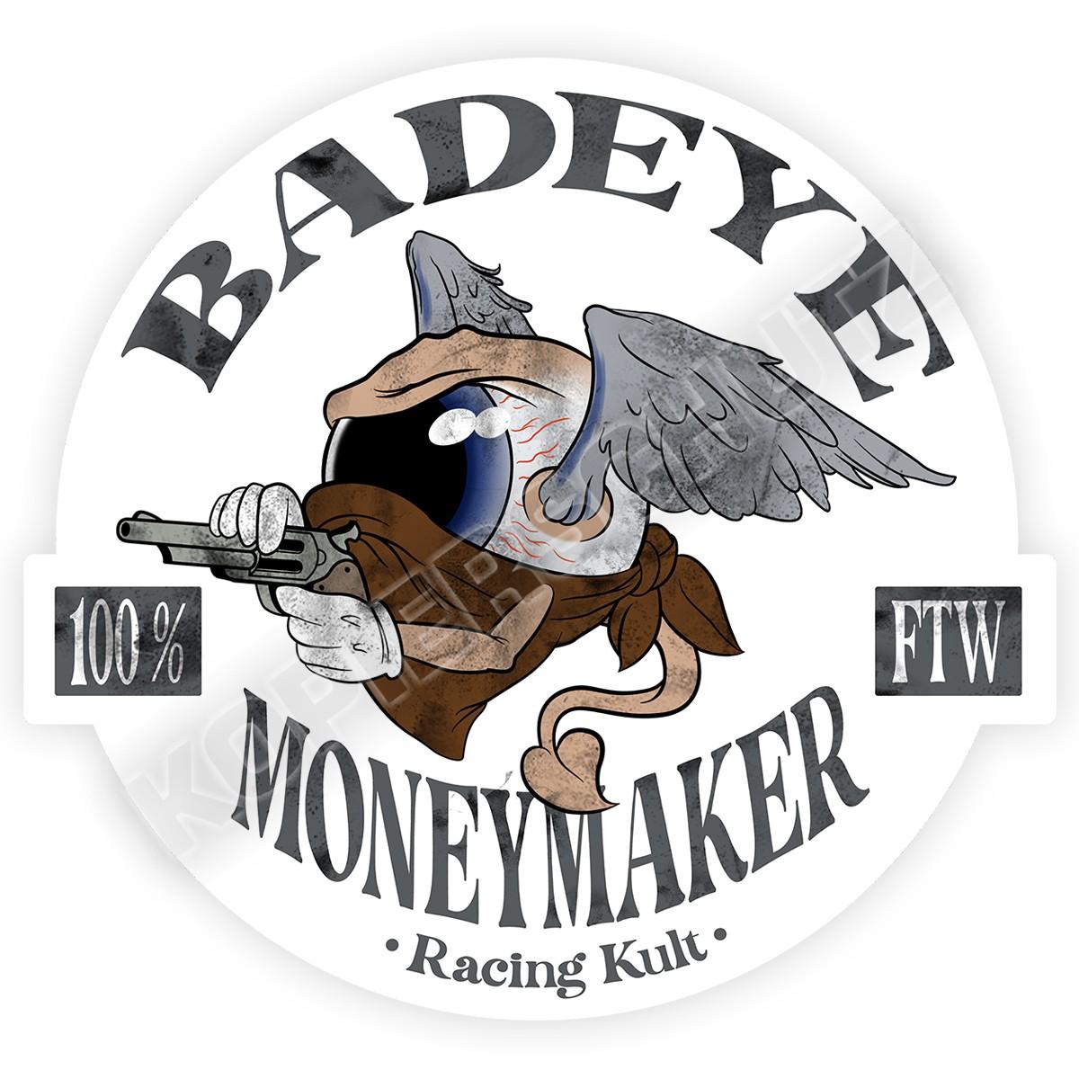 Racing Kult Aufkleber Badeye Moneymaker Weiß in verschiedenen Größen