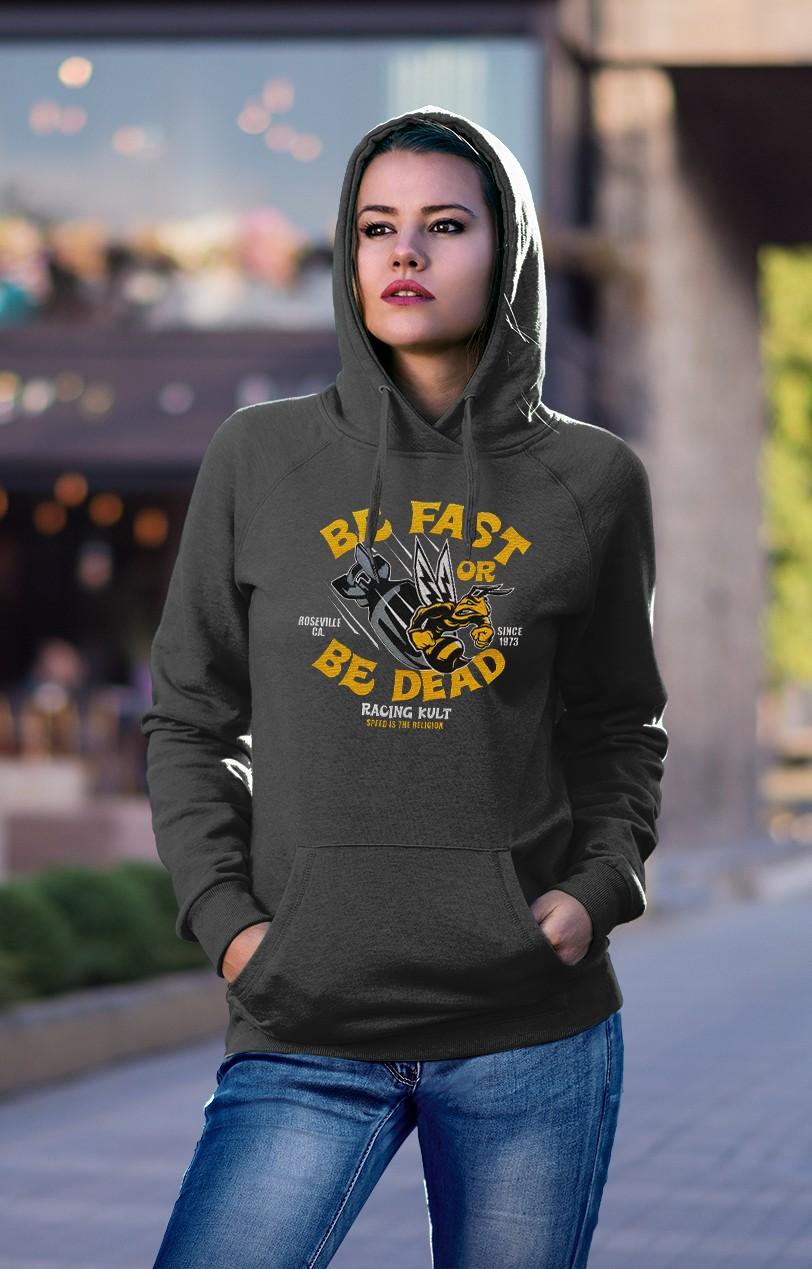 Racing Kult Frauen Hoodie Speed Bee Dunkel Grau mit Stick
