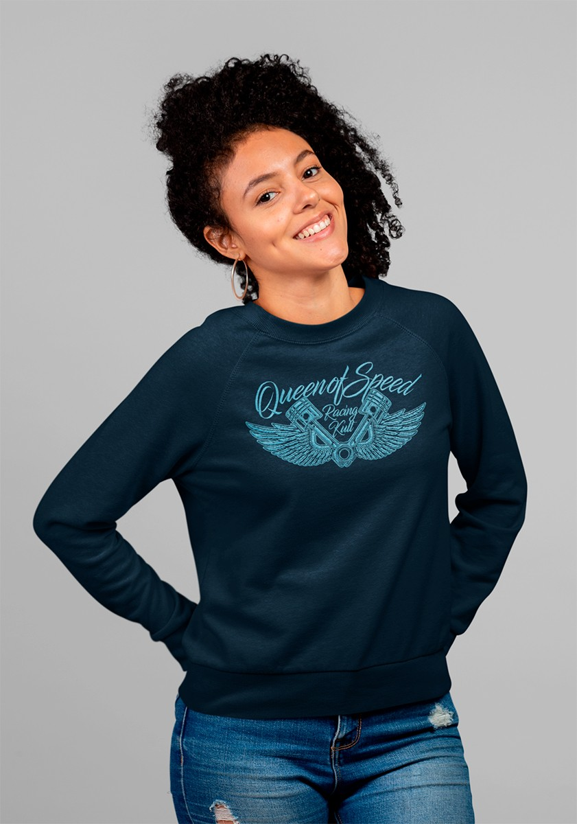 Racing Kult Frauen Sweatshirt Queen of Speed Navy mit Stick