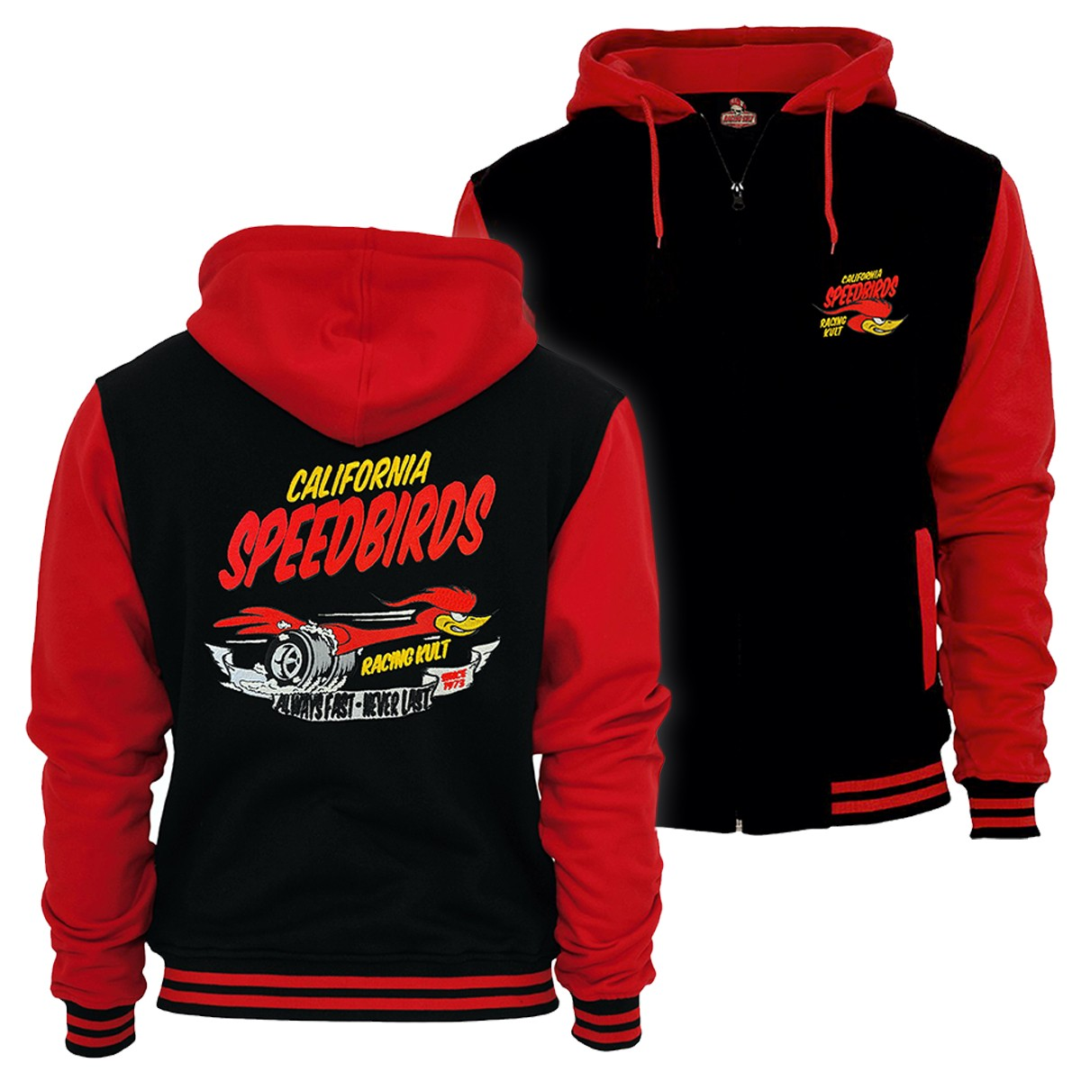 Racing Kult 2-Ton Sweatjacke im College Look Speedbird mit Stick