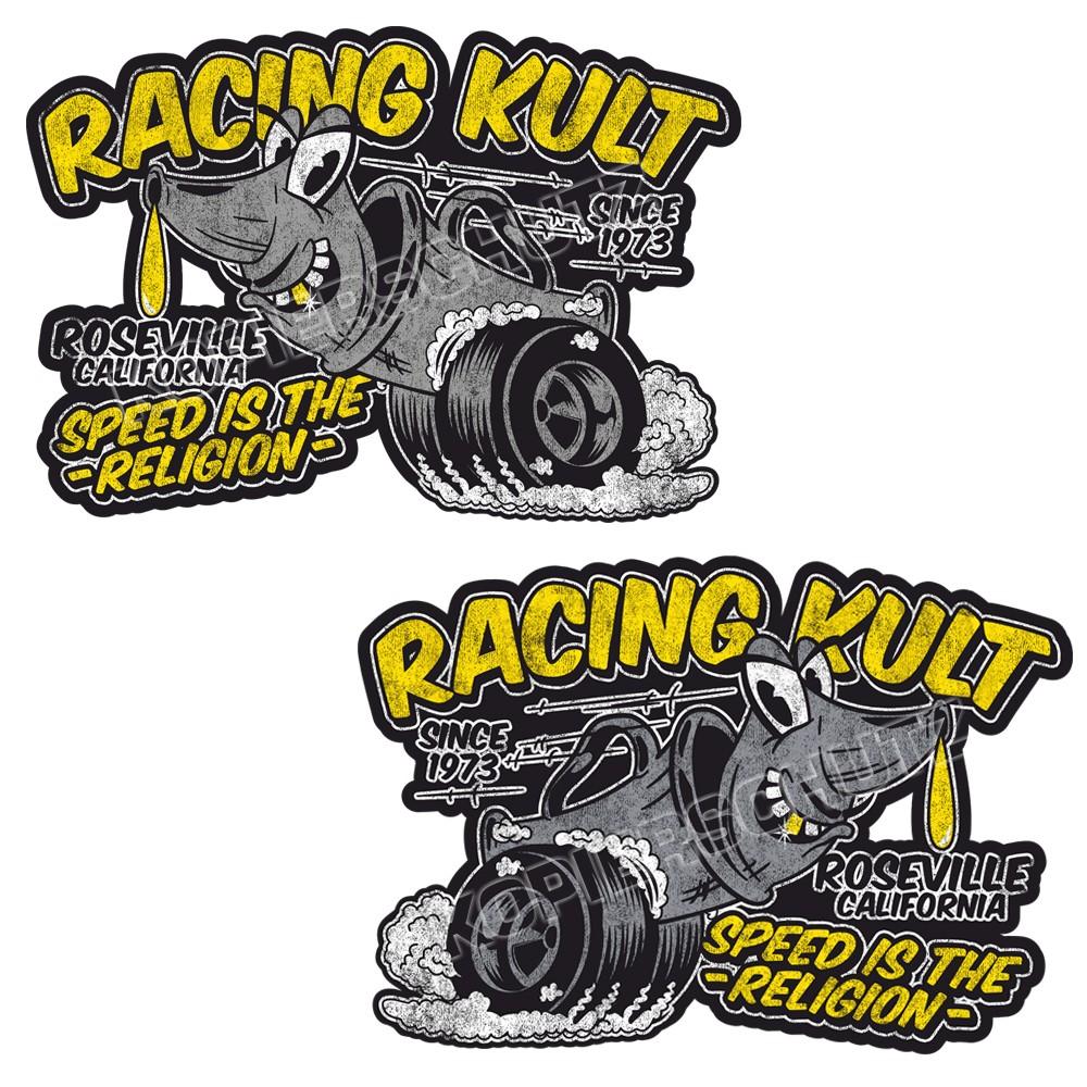 Racing Kult Aufkleber Sticker Set Schwarz in verschiedenen Größen