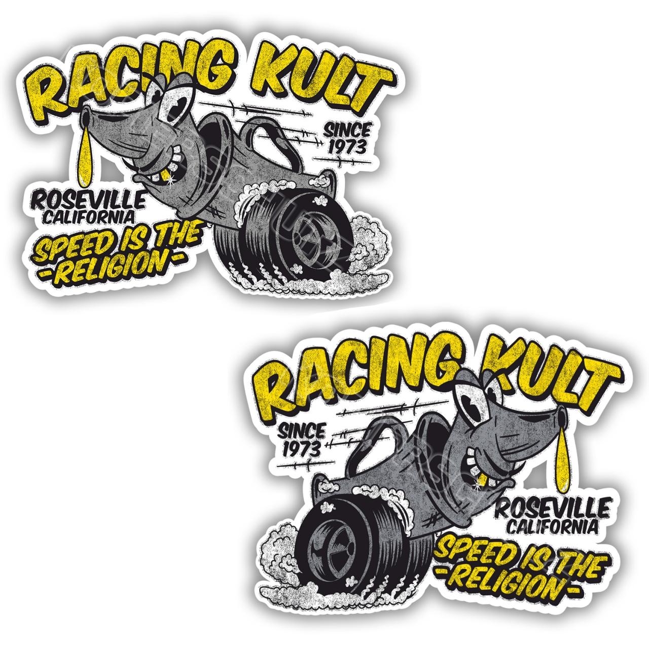 Racing Kult Aufkleber Sticker Set Weiß in verschiedenen Größen