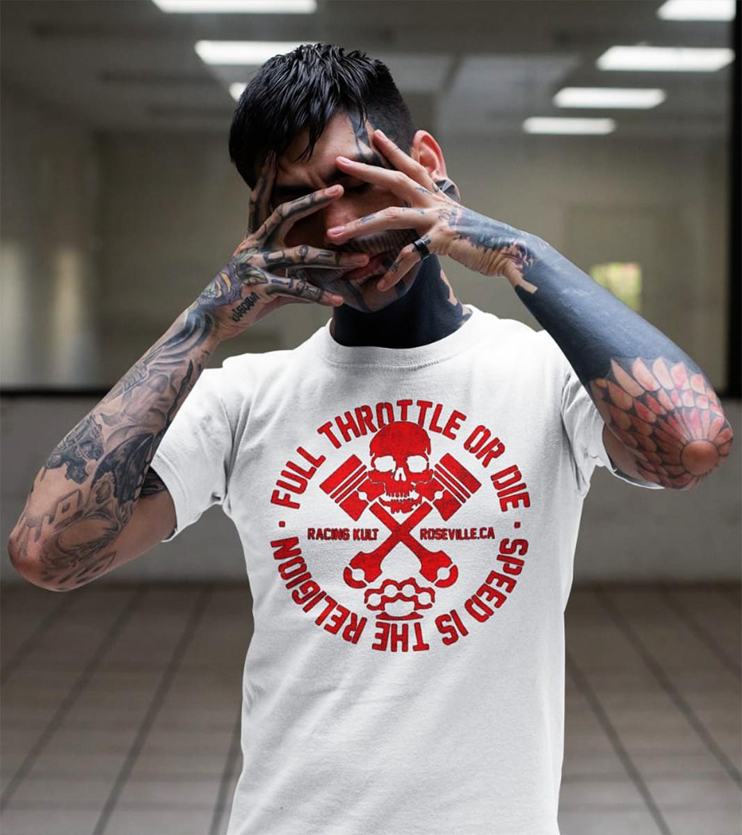 Racing Kult T-Shirt Full Throttle Frontprint Motiv in Rot
