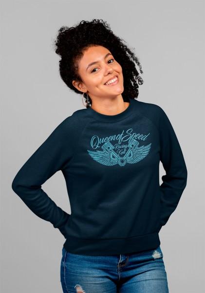 Racing Kult Frauen Sweatshirt Queen of Speed Navy mit Stick