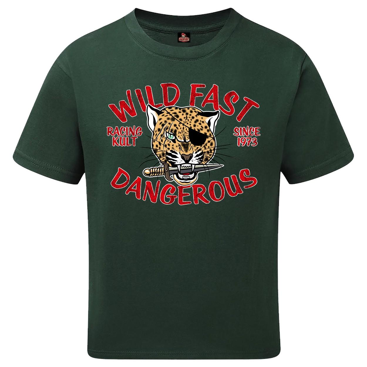 Racing Kult Unisex Kinder T-Shirt Wild Fast Dangerous Flaschengrün