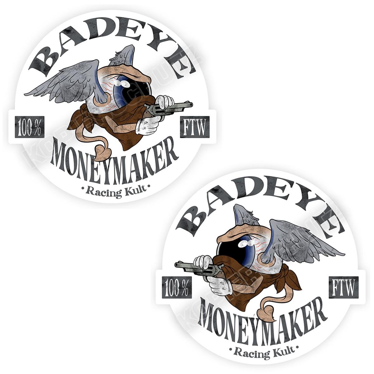 Racing Kult Aufkleber Badeye Moneymaker Set Weiß in verschiedenen Größen