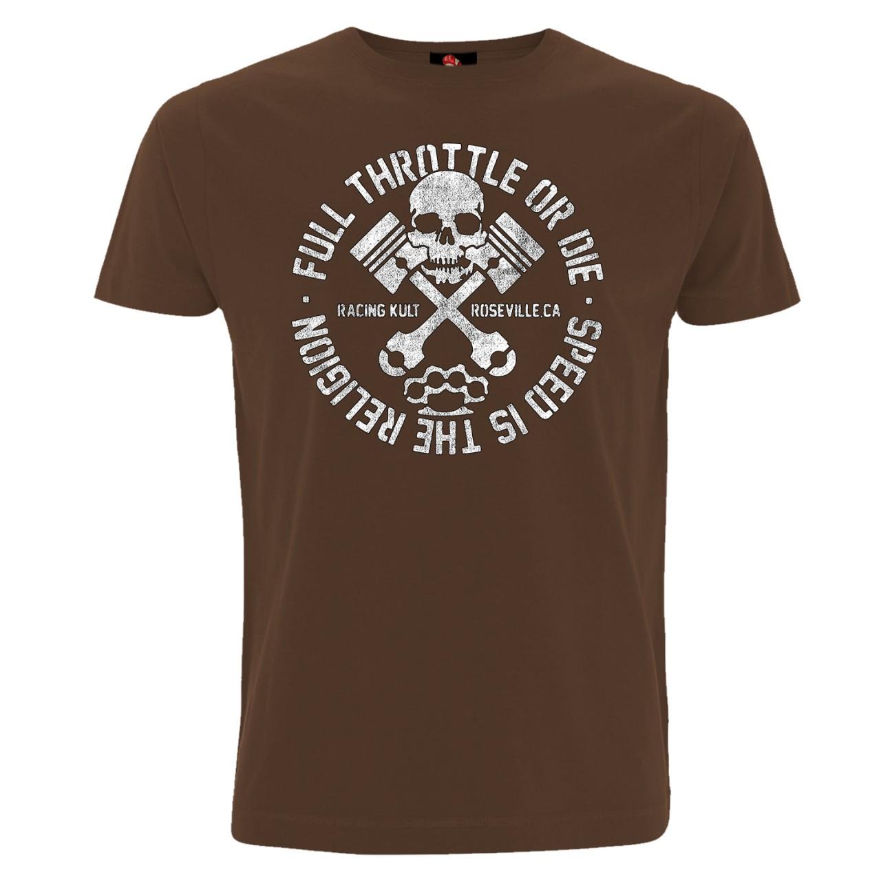 Racing Kult T-Shirt Full Throttle Frontprint Motiv in Weiß