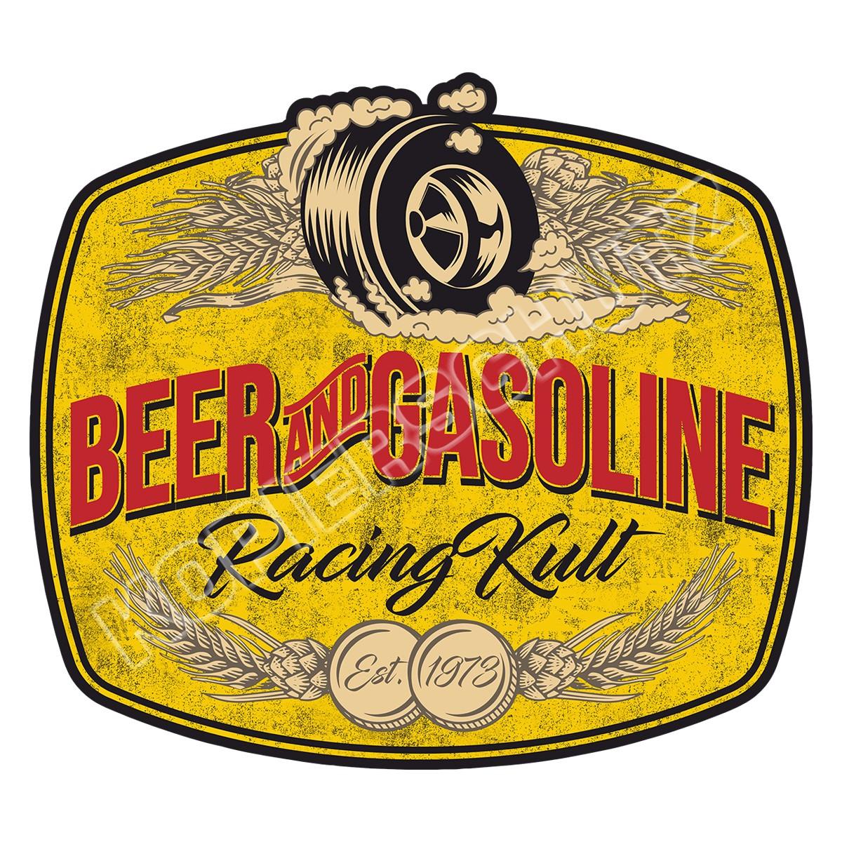 Racing Kult Aufkleber Beer and Gasoline in verschiedenen Größen