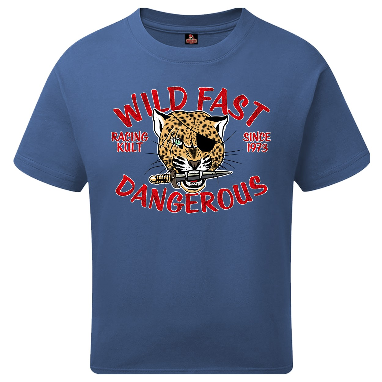 Racing Kult Unisex Kinder T-Shirt Wild Fast Dangerous Denim