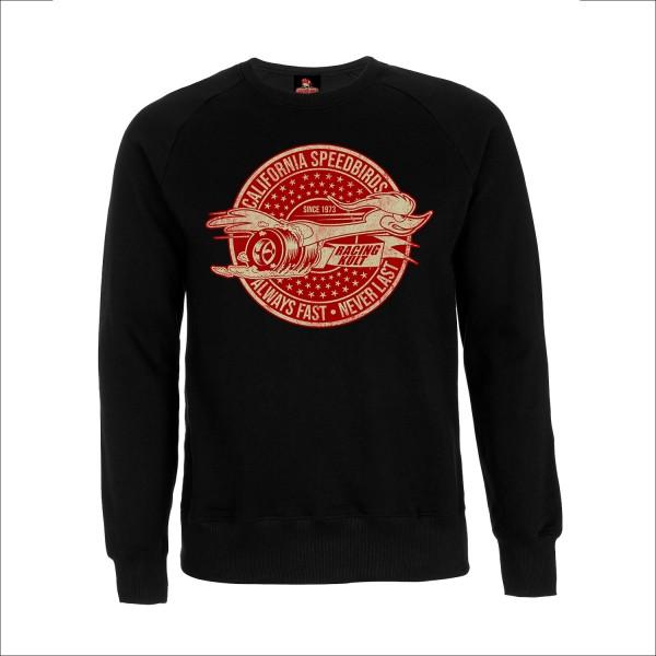 Racing Kult Sweatshirt California Speedbirds Always Fast - Never Last Schwarz