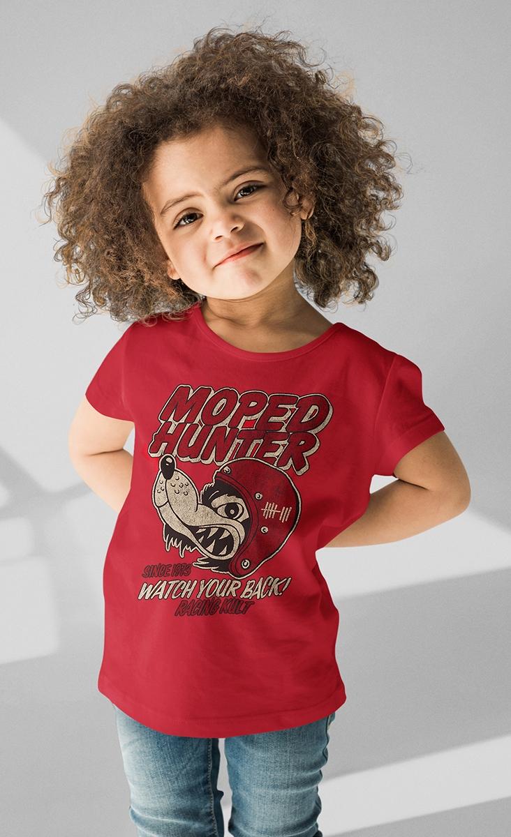 Racing Kult Unisex Kinder T-Shirt Moped Hunter Rot