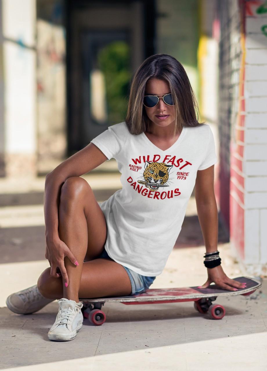 Racing Kult Frauen V-Neck T-Shirt Wild Fast Dangerous