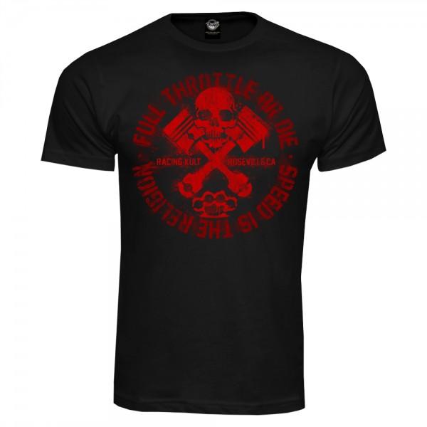 Racing Kult T-Shirt Full Throttle or Die Schwarz