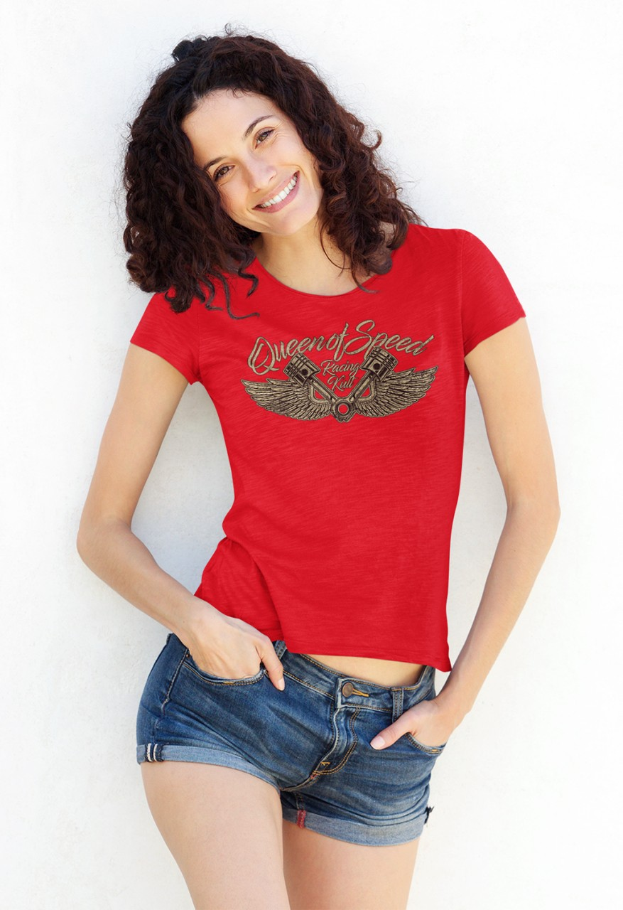 Racing Kult Frauen Roll Up Sleeve T-Shirt Queen of Speed