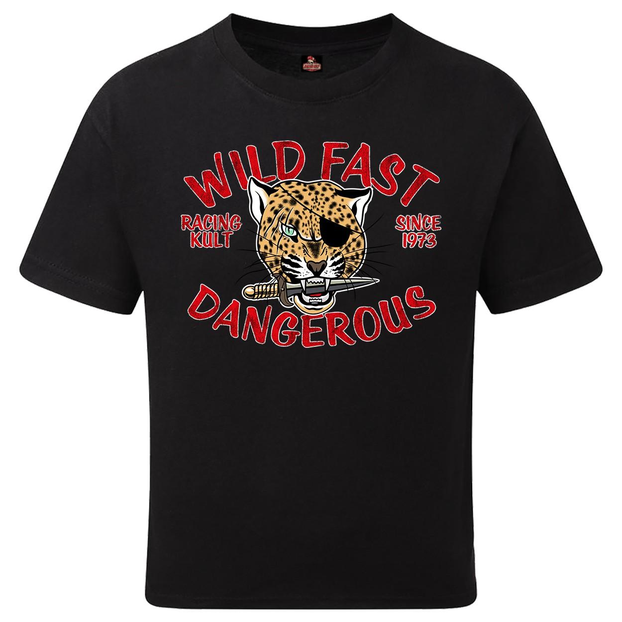 Racing Kult Unisex Kinder T-Shirt Wild Fast Dangerous Schwarz
