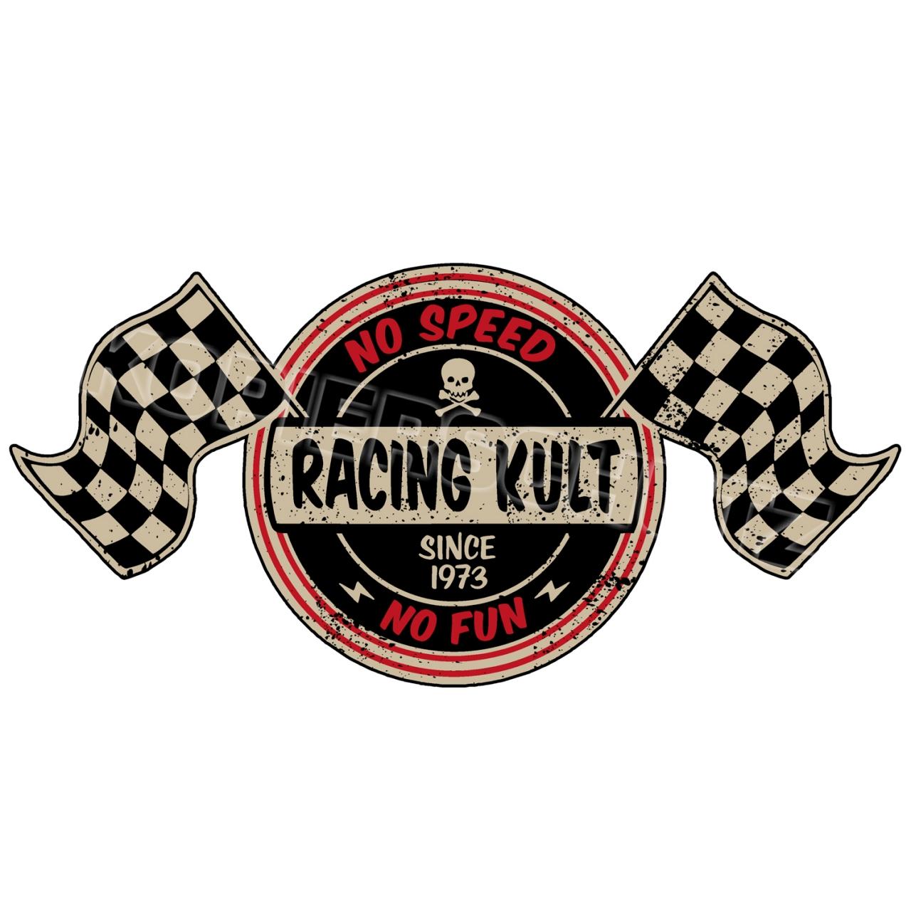 Racing Kult Aufkleber No Speed No Fun Flaggen in verschiedenen Größen